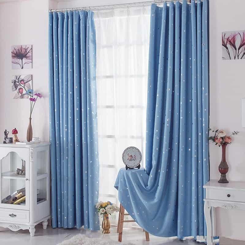 chọn rèm xanh dương theo nội thất